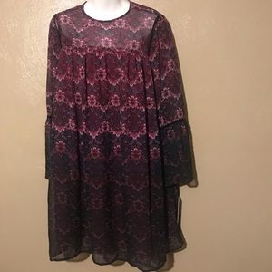 Nanette flowered dress size 10, sheer w/lining